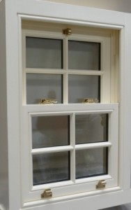 Timber windows - hardwood sliding sash window with Astragal bar decorative glass