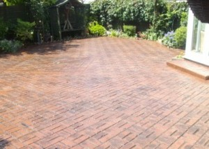 Pattern imprinted concrete driveway - Old brick basket weave