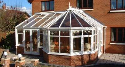 Combination conservatories - White PVCu P Shaped Conservatory