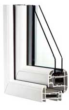 White PVCu windows - cross section
