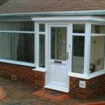 Porches - Flat roof porch with single window and door