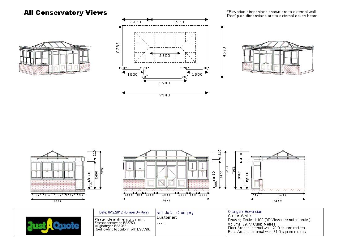 Orangeries - CAD drawing showing six images of the proposed design