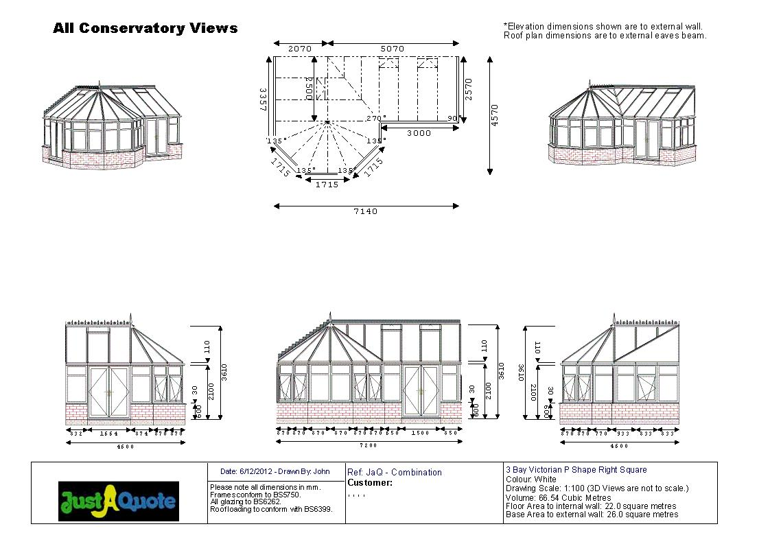 Combination Conservatories - CAD drawing showing six images of the proposed design - Victorian P Shape conservatory