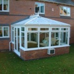 DIY Conservatories - Edwardian conservatory in white PVCu with air conditioning unit