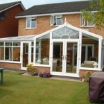 DIY Conservatories - P shaped conservatory with gable front and sunburst effect