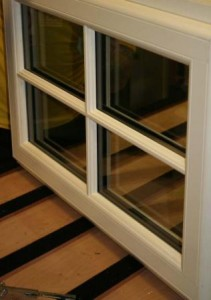 White composite window with astragal bar