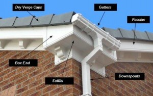 Roofing: PVCu soffits, fascia and guttering.  Illustration showing the various products which fall under the term of roofline or rooftrim products
