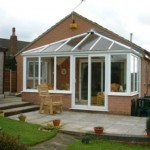 Sliding patio doors on a conservatory
