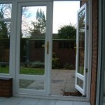 White PVCu double doors on a conservatory