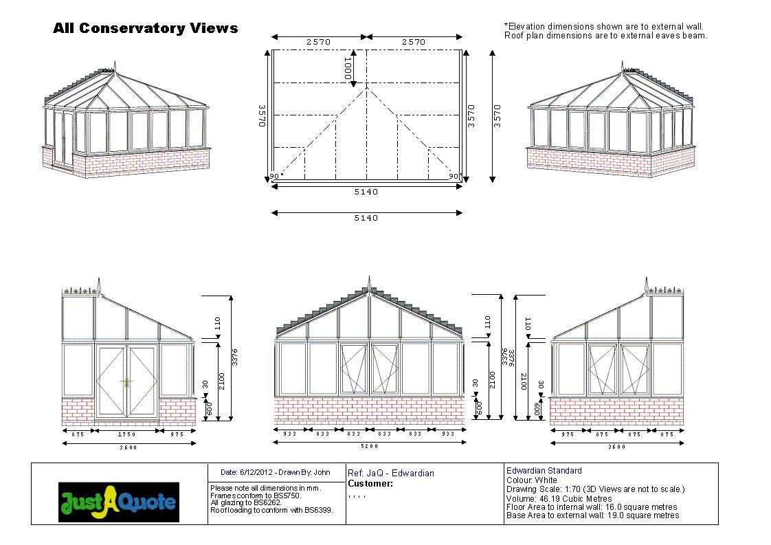 Edwardian Conservatories - CAD drawing showing six images of the proposed design