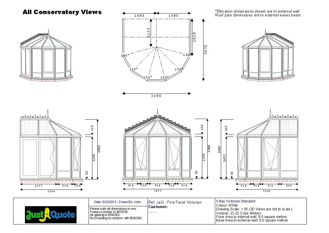 Victorian Conservatories - CAD drawing showing six images of the proposed design - Five Facet Victorian Conservatory
