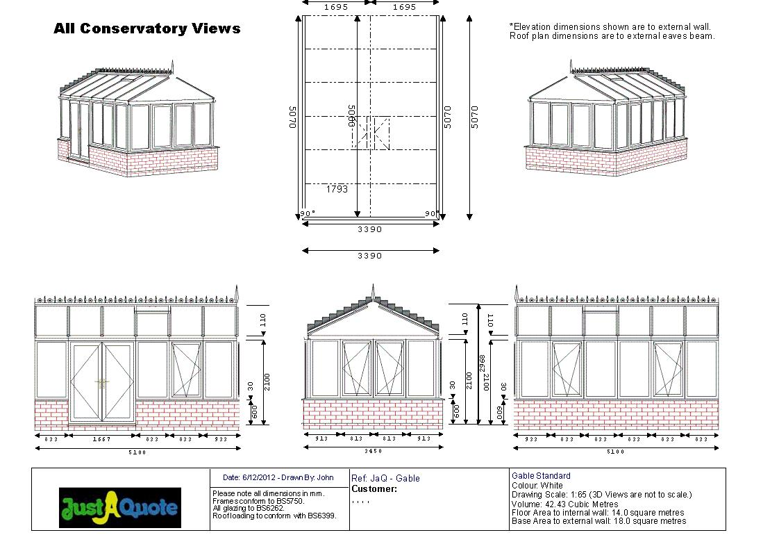 Gable Conservatories - CAD drawing showing six images of the proposed design