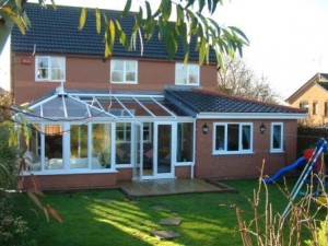 P shaped conservatory with adjacent extension
