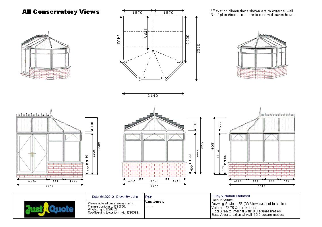 DIY Conservatories - CAD drawing showing six images of the proposed design - Three Facet Victorian conservatory