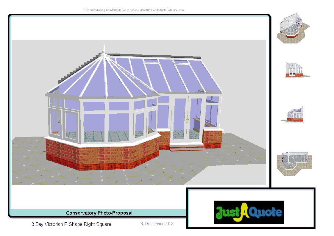 Combination Conservatories - Computer Generated Image - Victorian P Shape conservatory