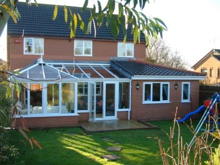 Ten key conservatory points - White PVCu Edwardian P Shape conservatory with office extension
