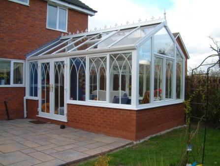 Planning permission for conservatories - White PVCu Gable conservatory with Gothic arches