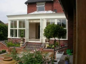 Sliding sash windows in an orangery