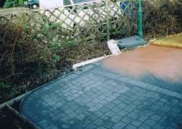 inprinted concrete installation - pattern imprinted concrete prior to washing off and sealing
