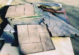 Imprinted concrete installation - selection of printing mats used for pattern imprinted concrete