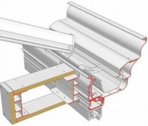 Orangery Style Conservatories - Synseal's™ Global Summer® Cross section of eaves, gutter and pelmet – low line