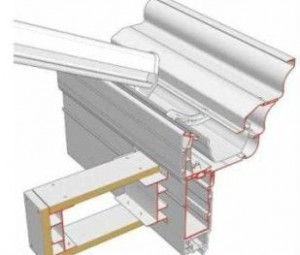 Orangery Style Conservatories - Synseal's™ Global Summer® Cross section of eaves, gutter and pelmet – raised line